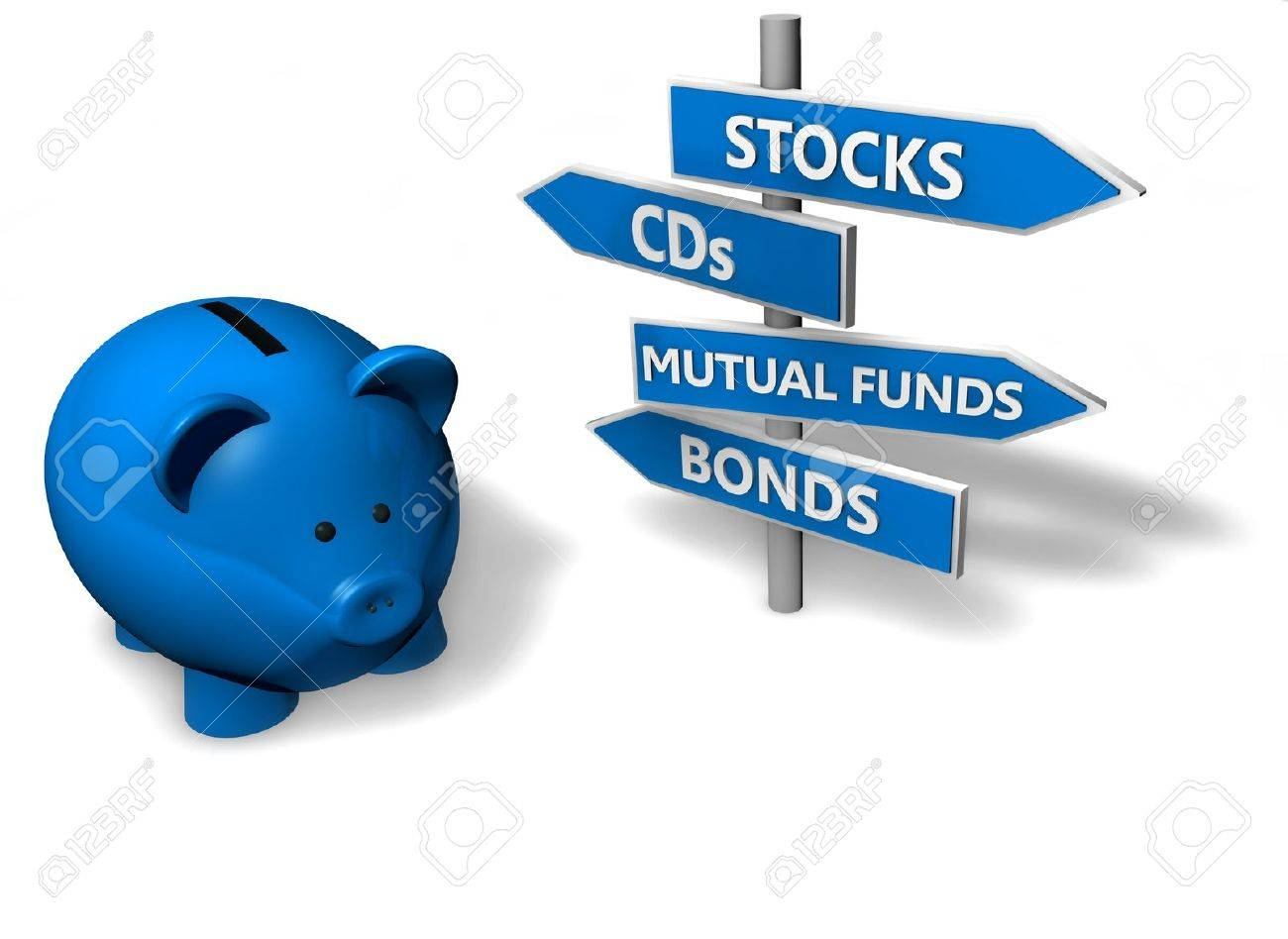 Piggybank or money-box with investment options on directional signs. Stock Photo - 11694895