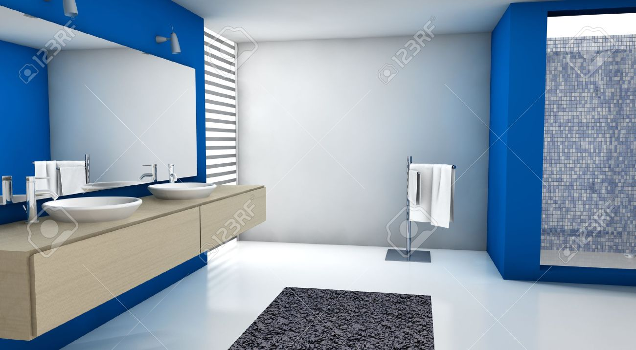 Modern blue and white bathroom - Contemporary Bathroom With Modern Design And Furniture Colored In Blue Maple And White