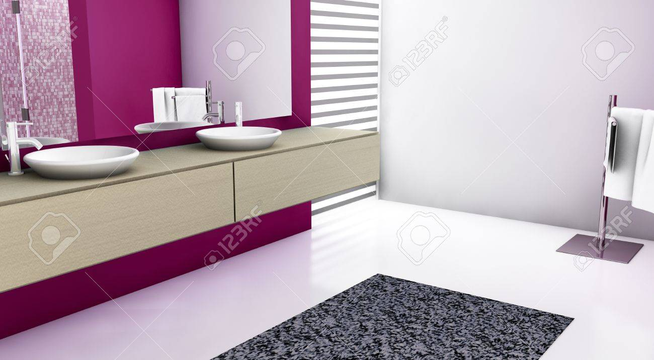 Modern bathroom with contemporary design and furniture, colored in red, maple and white, 3d rendering Stock Photo - 12432098