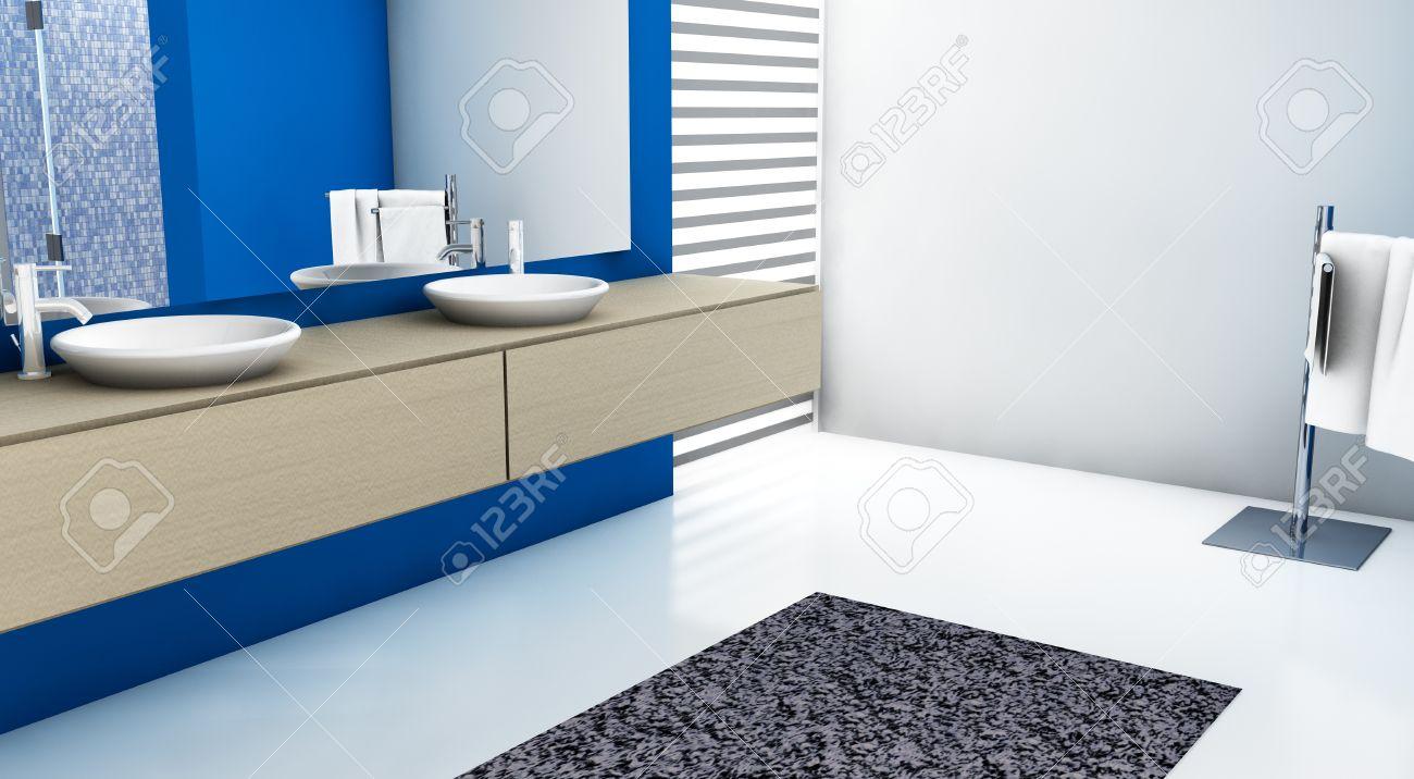 bagno moderno con un design contemporaneo e mobili, colorate in ... - Bagni Colorati Moderni