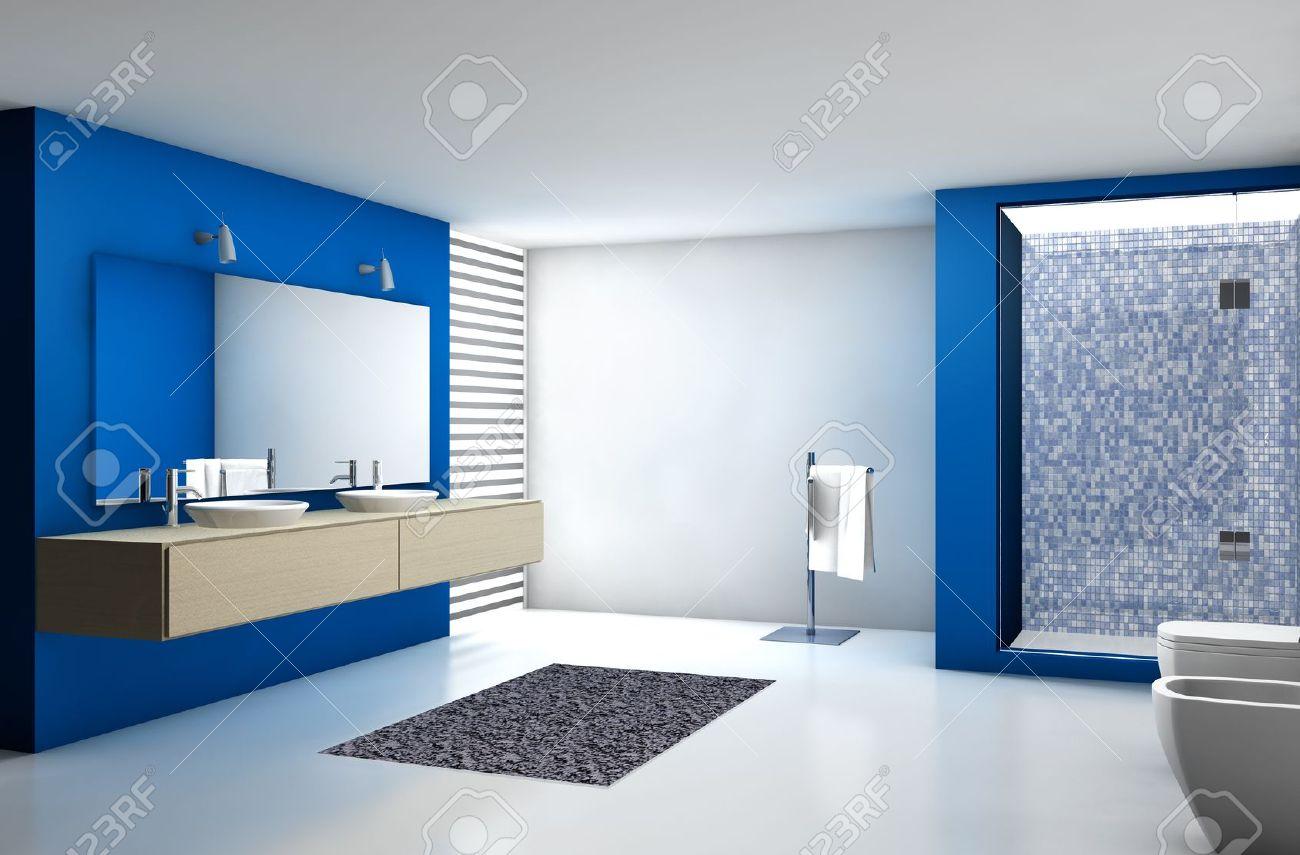 Modernes Badezimmer Mit Modernem Design Und Möbel, In Blau, Ahorn Und Weiß,  3D