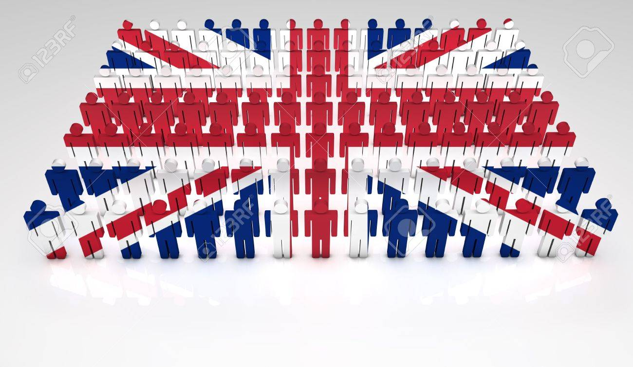 Parade of 3d people forming a top view of British flag  With copyspace Stock Photo - 12761764
