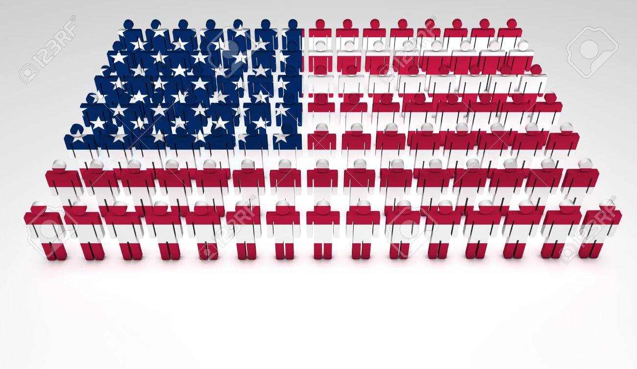 Parade Of 3d People Forming A Top View Of United States Of America Flag With Copye