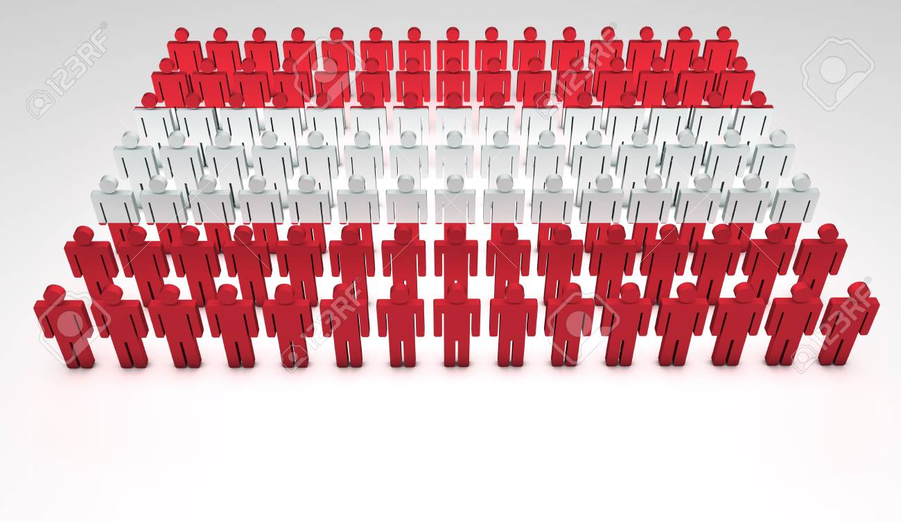Parade of 3d people forming a top view of Austrian flag  With copyspace Stock Photo - 12761978