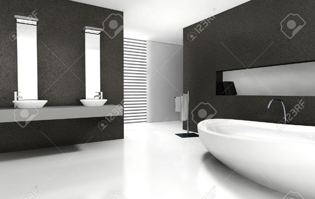 Badkamer met moderne en hedendaagse design en meubels in zwart wit ...