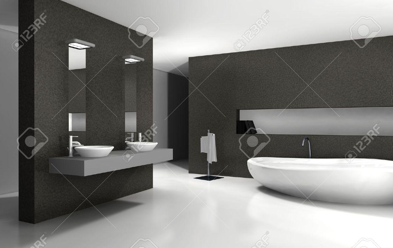 cuarto de baño con un diseño moderno y contemporáneo y muebles en