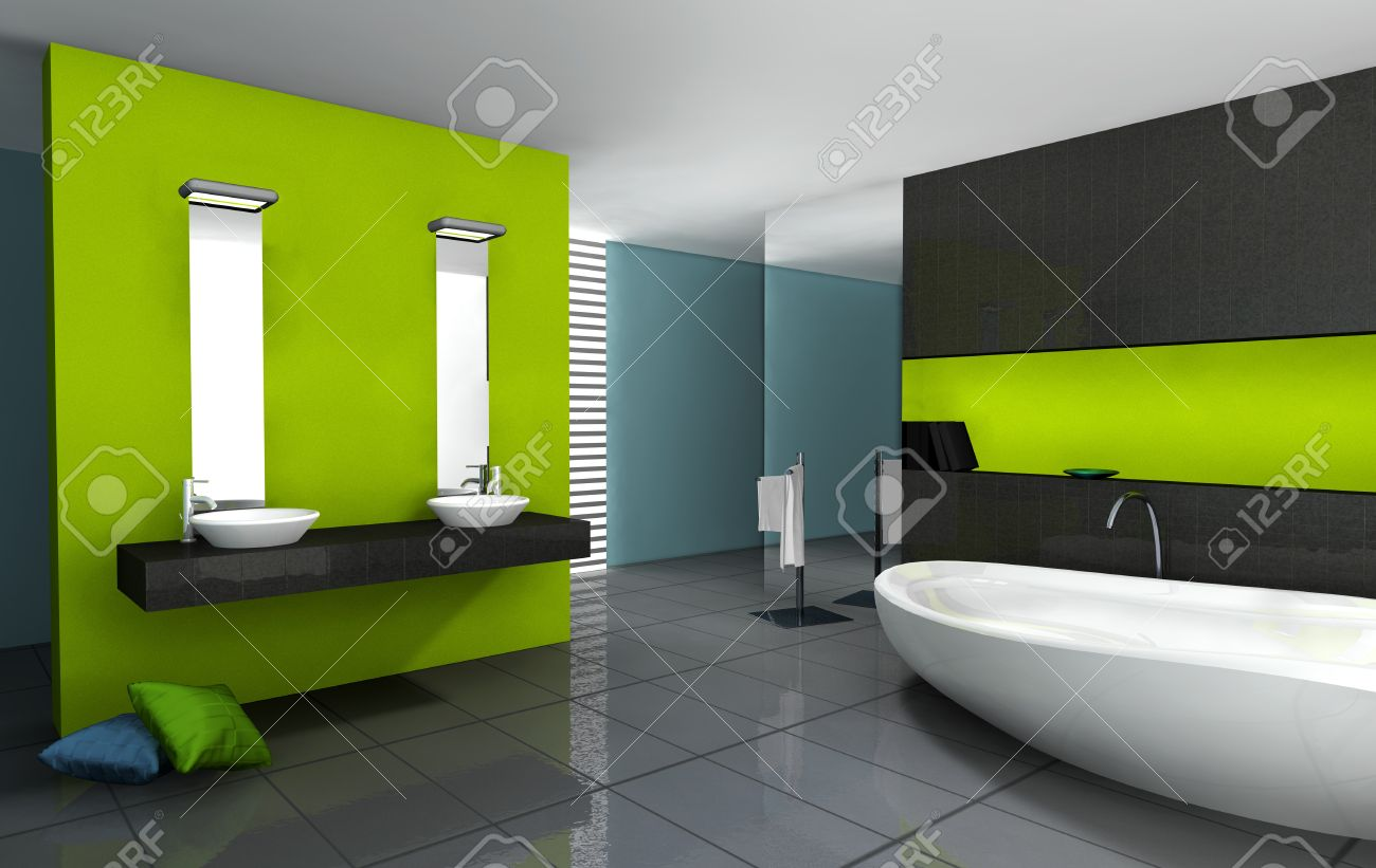 Captivant Banque Du0027images   Salle De Bains Avec Un Design Moderne Et Contemporain Et  Le Mobilier Coloré En Vert, Noir Et Cyan, Rendu 3d