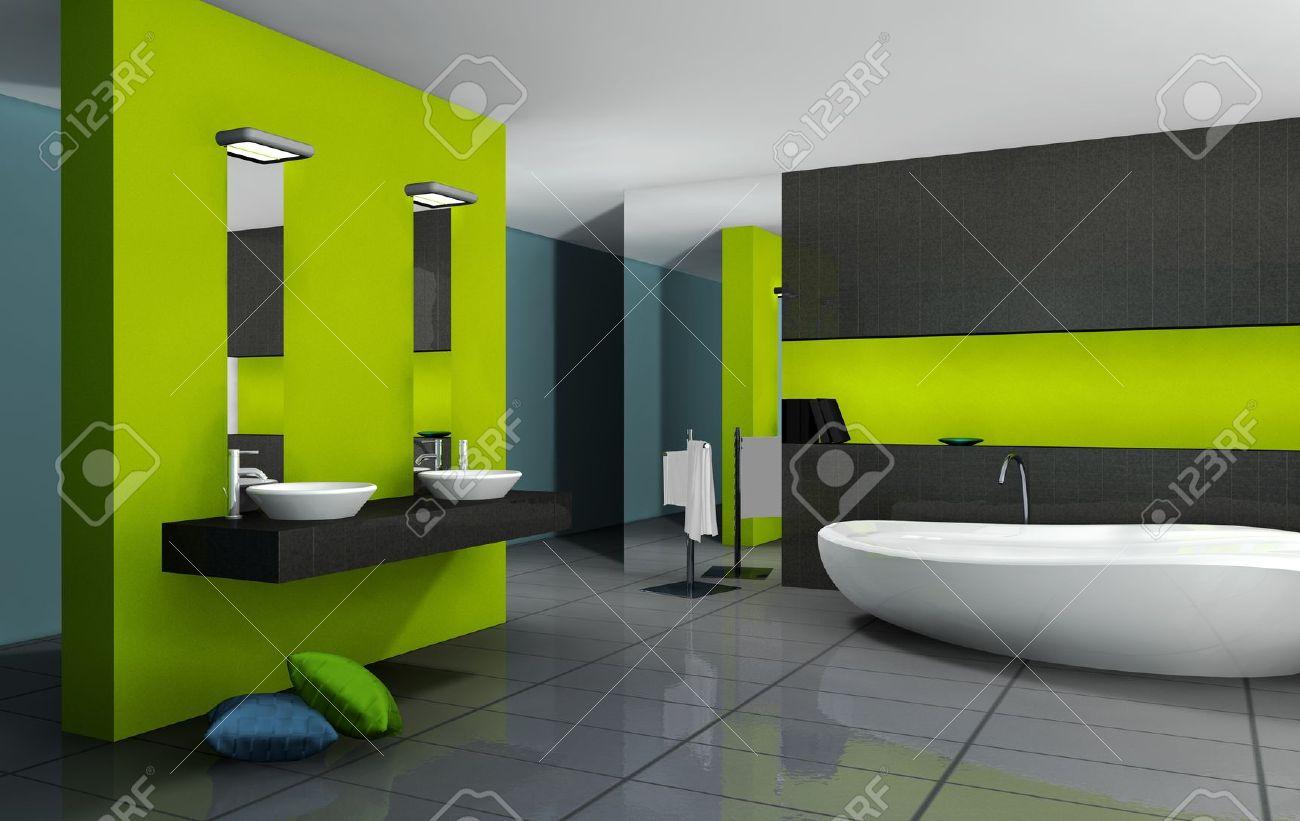 Banque Du0027images   Salle De Bains Avec Un Design Moderne Et Contemporain Et  Le Mobilier Coloré En Vert, Noir Et Cyan, Rendu 3d