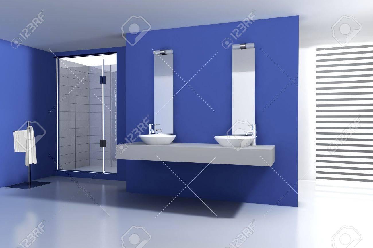 Badezimmer Mit Modernen Und Zeitgenössischen Design Und Möbel, In Blau Und  Weiß, 3D