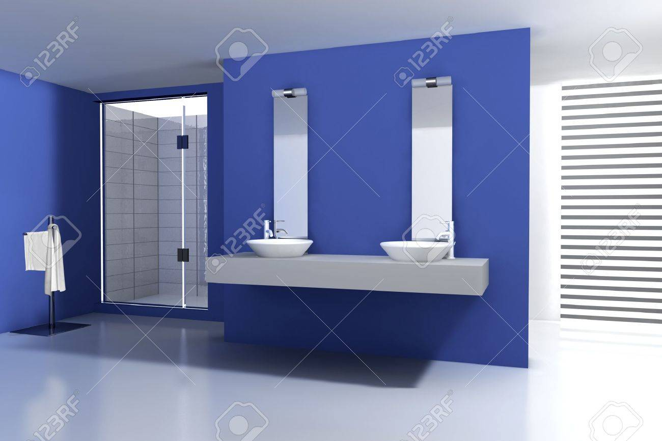 Bagni Colorati Blu : Bagno con design moderno e contemporaneo e mobili colorate in blu