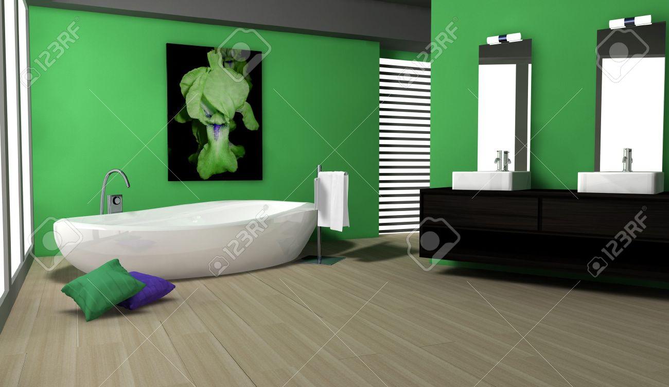 bagno con design moderno e contemporaneo e arredi colorati in ... - Bagni Colorati Moderni