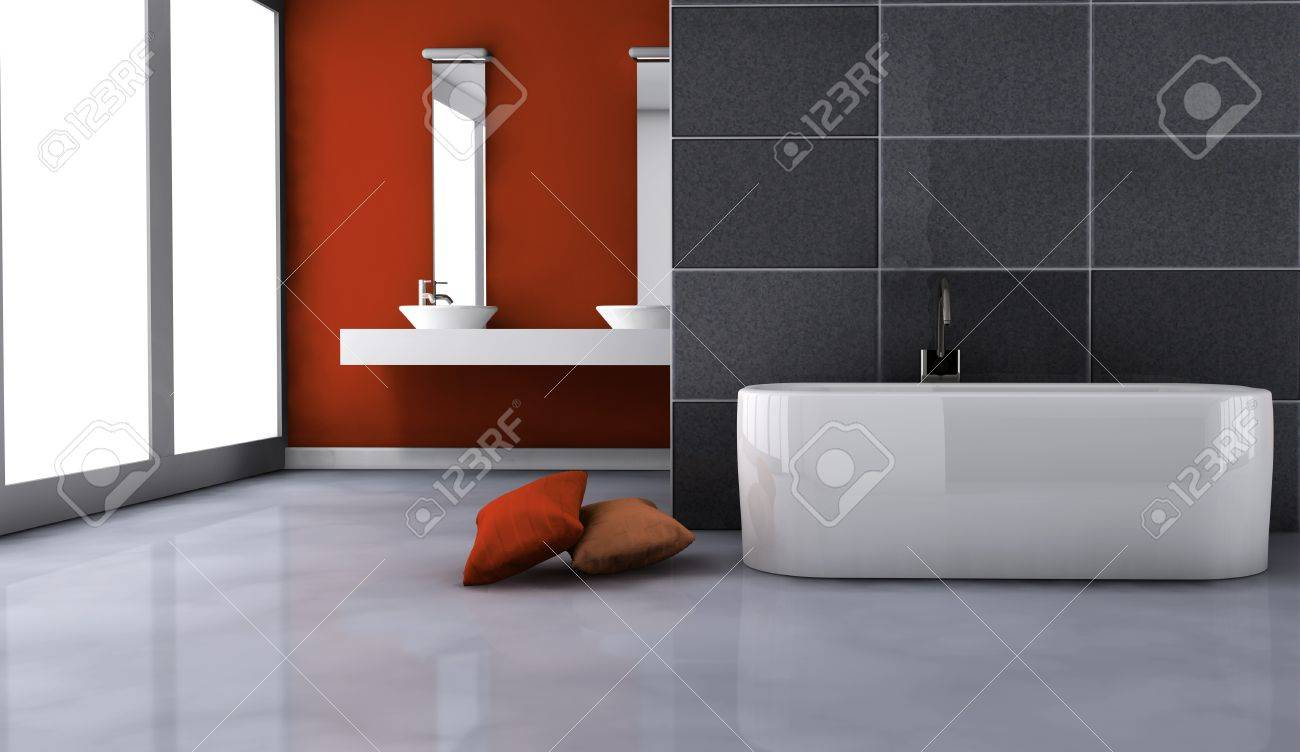 Bathroom With ontemporary Design nd Furniture olored In ed ... - ^