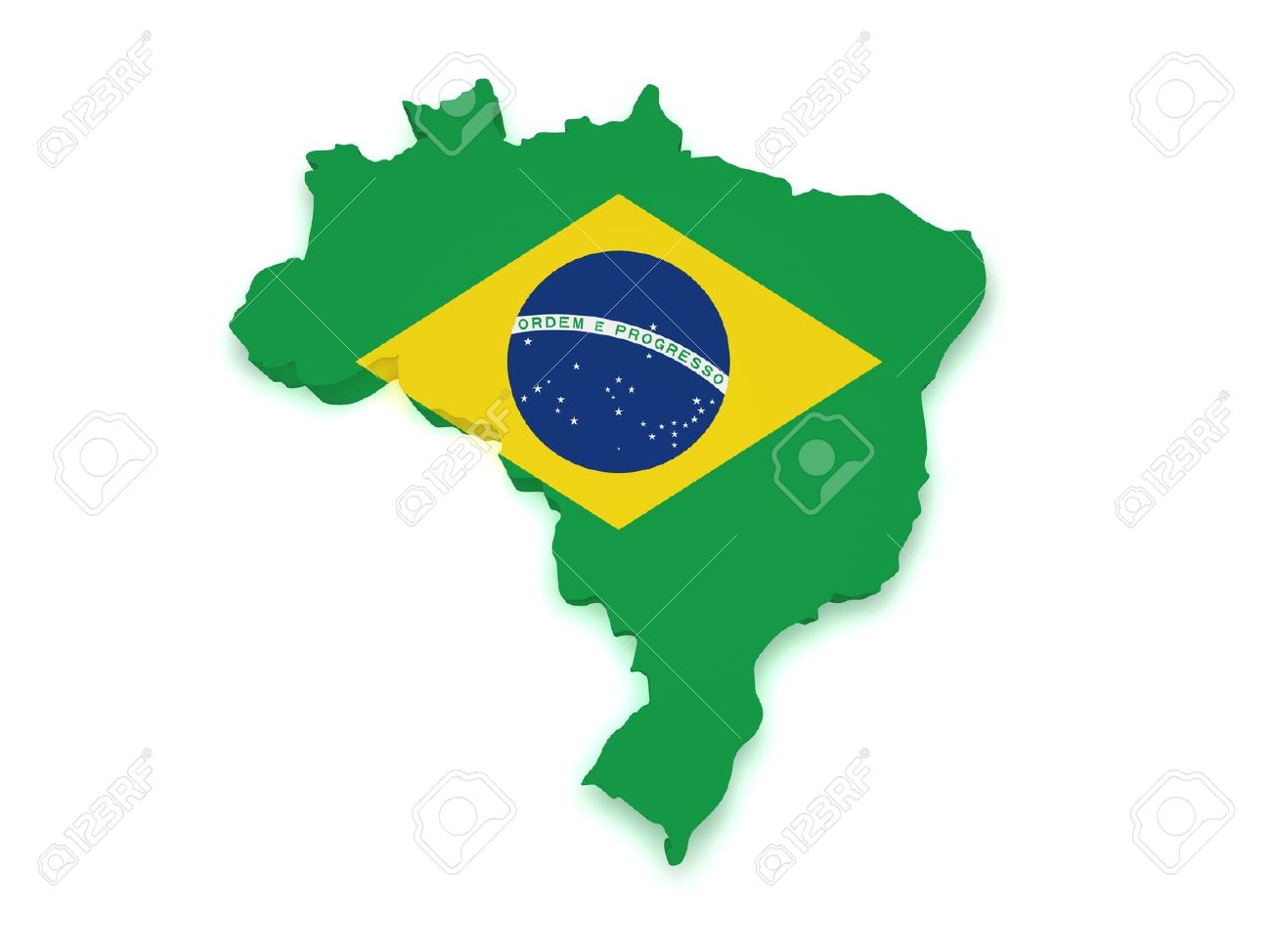 Shape 3d of Brazilian flag and map isolated on white background Stock Photo - 13299713