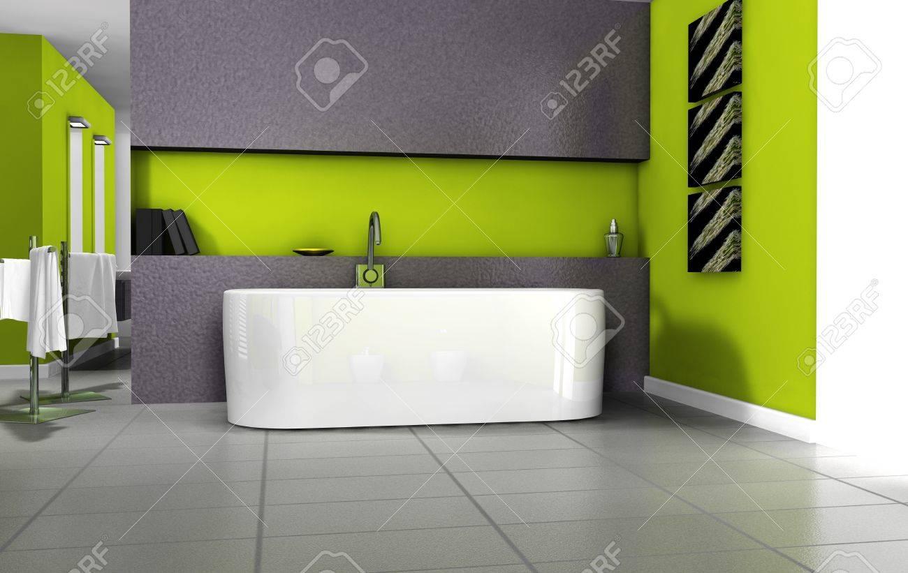 Badezimmer Innenarchitektur Mit Zeitgenossischen Mobel Badewanne Und