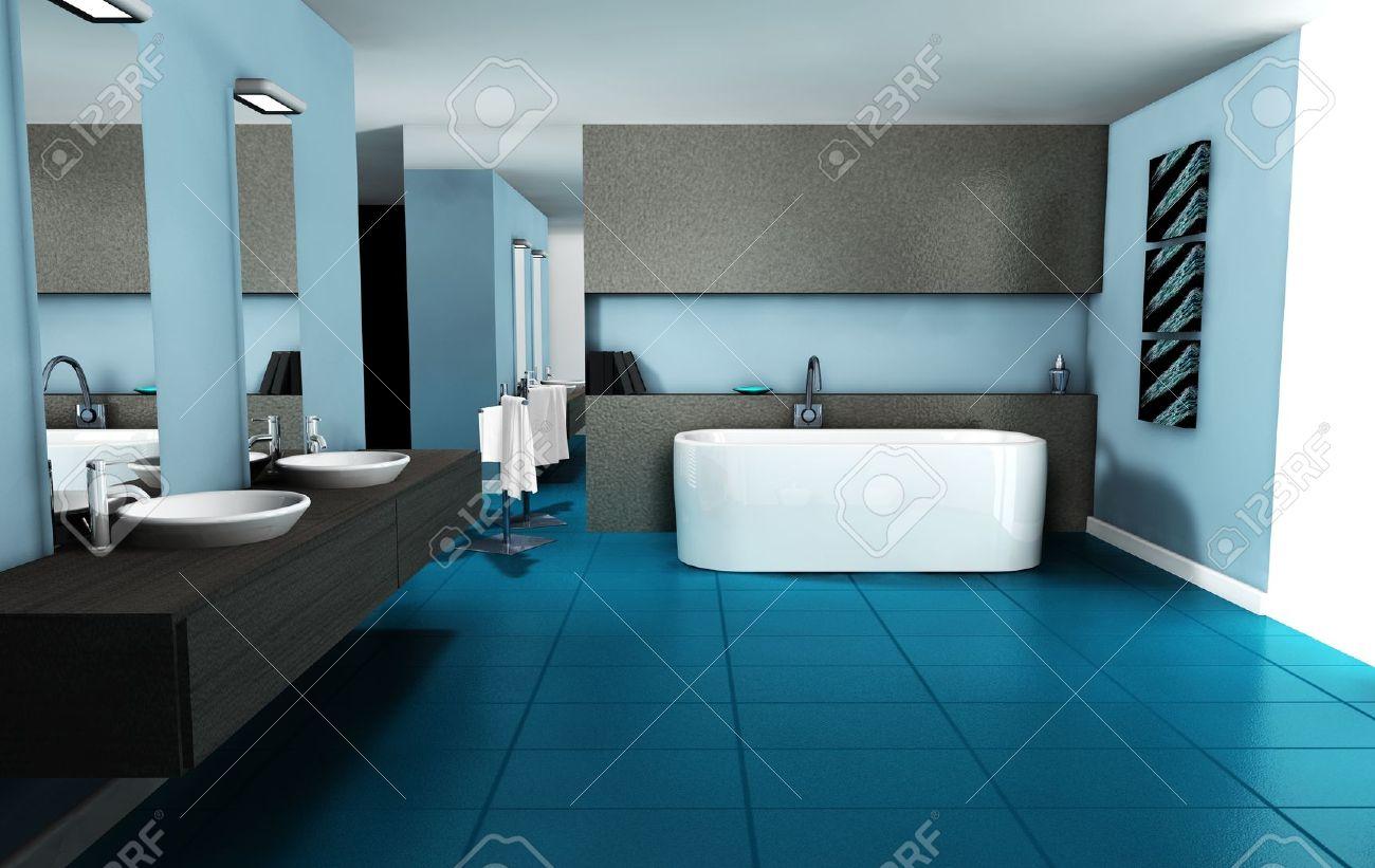Salle De Bains Design Int Rieur Avec Du Mobilier Contemporain Color