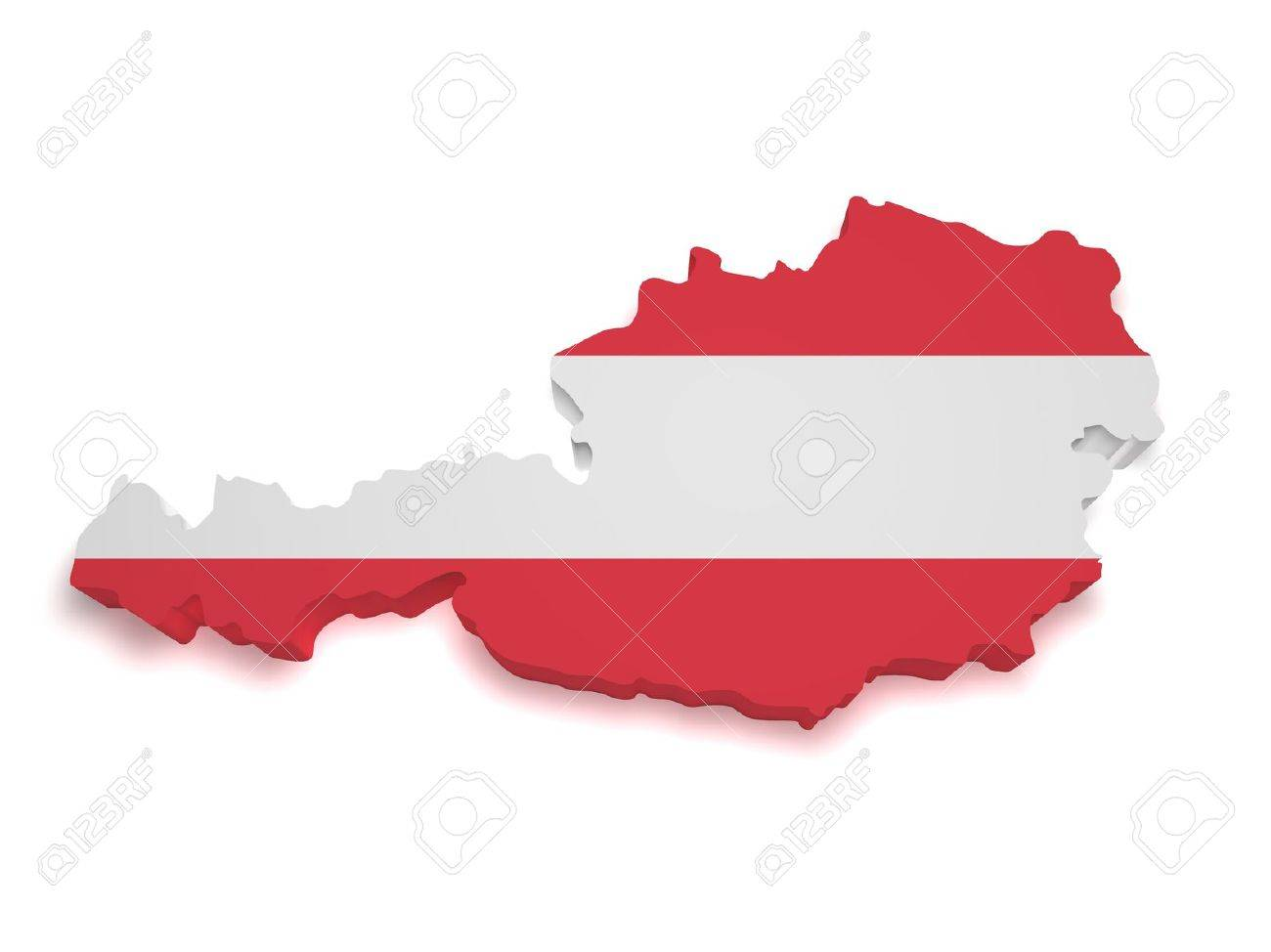 Shape 3d of Austrian flag and map isolated on white background Standard-Bild - 13626337