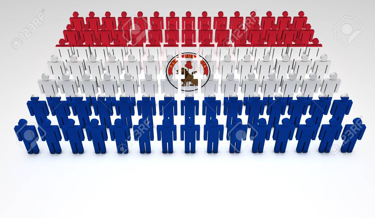Parade of 3d people forming a top view of Paraguayan flag  With copyspace Stock Photo - 13626347