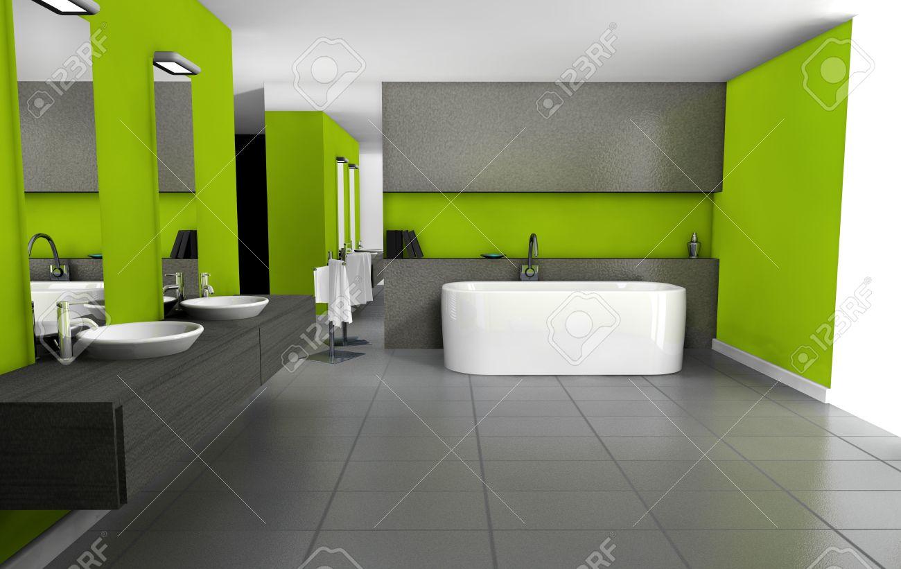 Badezimmer Mit Modernem Design Und Möbel In Grün Und Schwarz, 3D ...