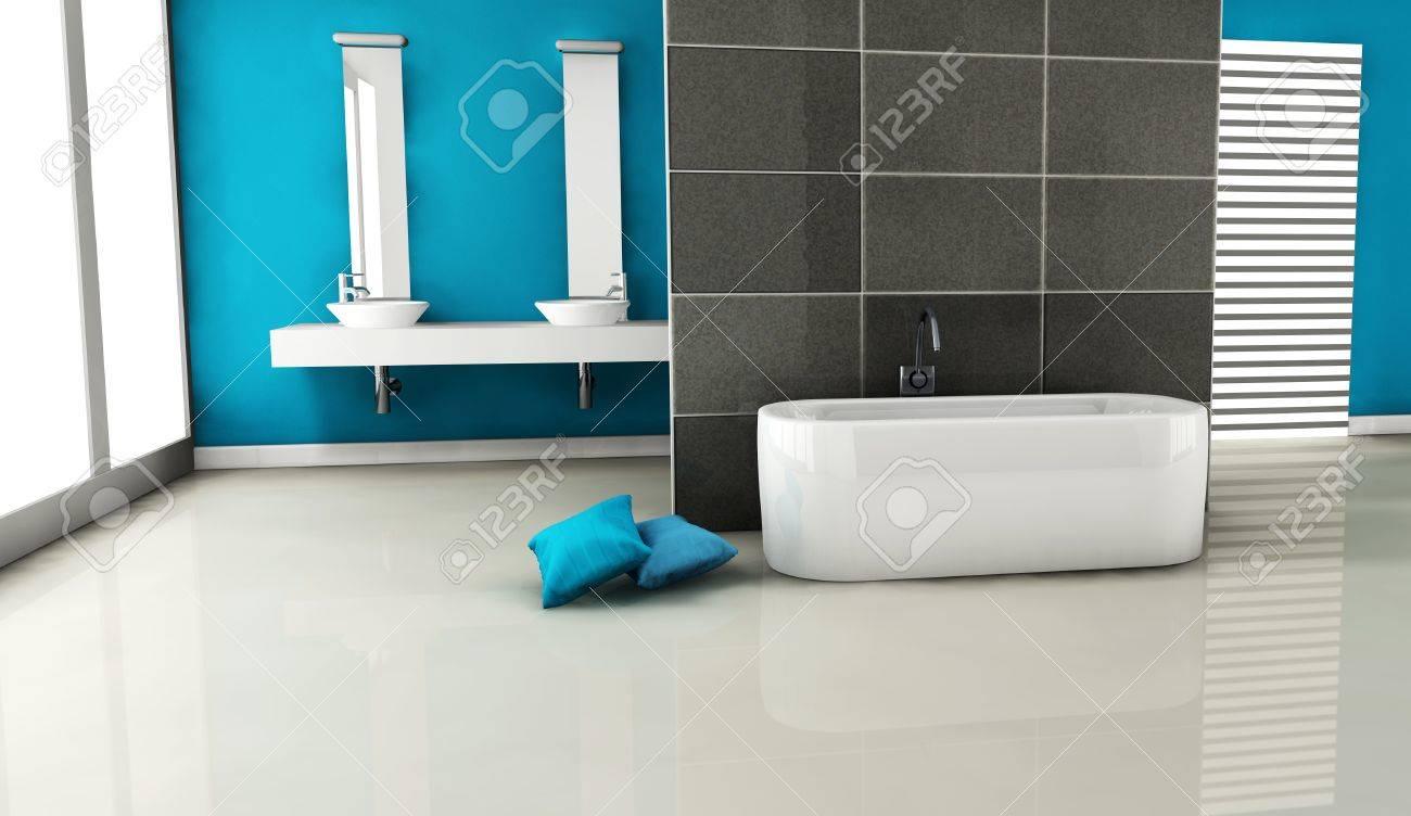 interno di un bagno moderno e contemporaneo colorato in blu con un ... - Bagni Moderni Colorati