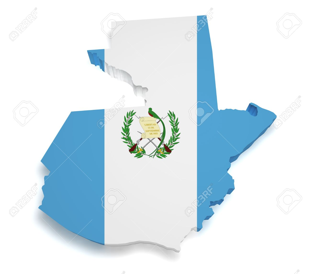 Shape 3d of Guatemalan flag and map isolated on white background Stock Photo - 14166978