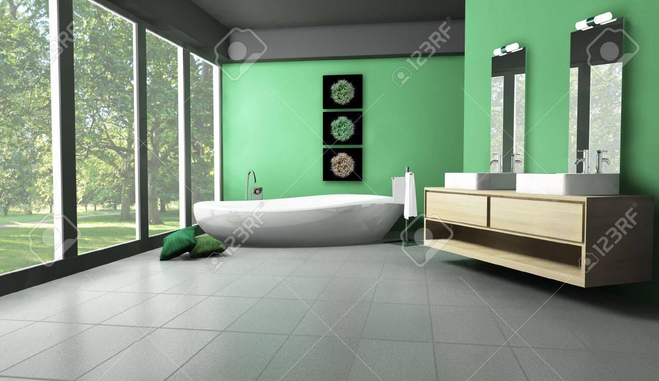 Interior De Un Cuarto De Baño Moderno Y Contemporáneo De Color Verde ...