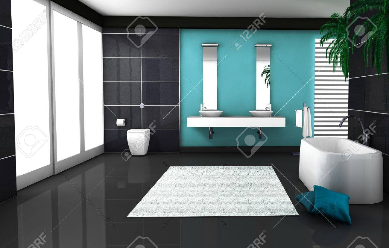 Interior Of A Modern And Contemporary Bathroom Colored In Black