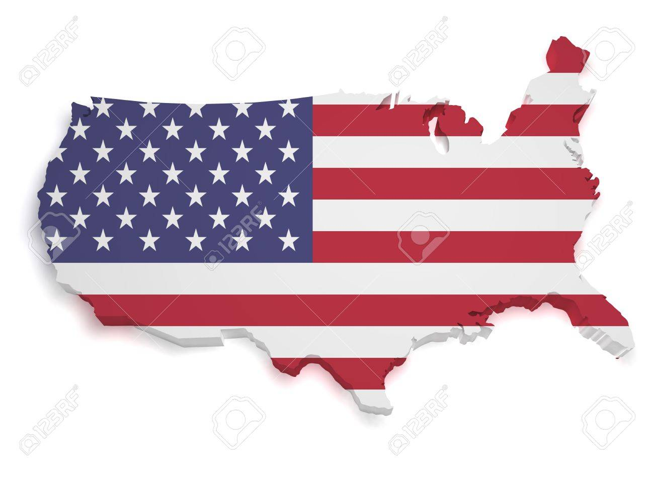 shape 3d of united states of america flag and map isolated on white background stock po