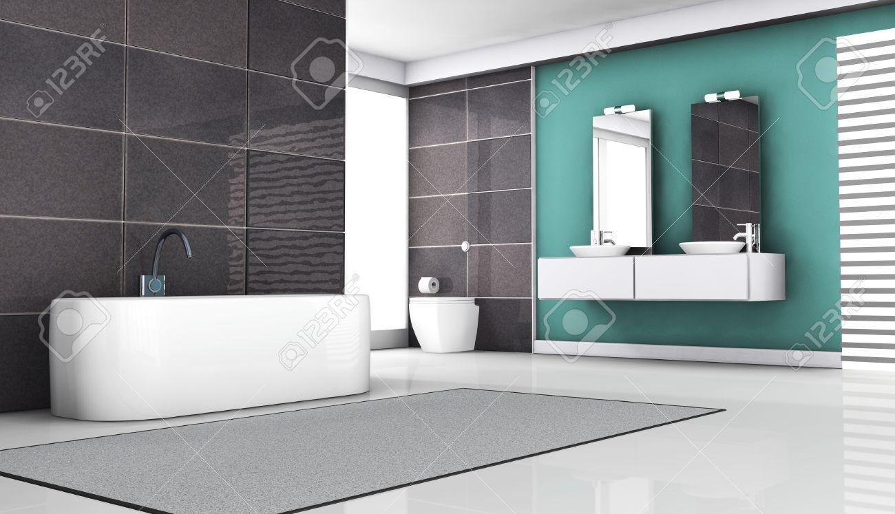 interior de diseño de baño con baldosas de granito y modernos