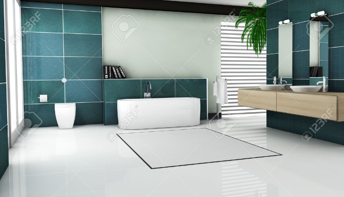 Interior Of Contemporary Bathroom Design With Granite Tiles And Modern  White Sanitary Fixtures And Furniture 3d