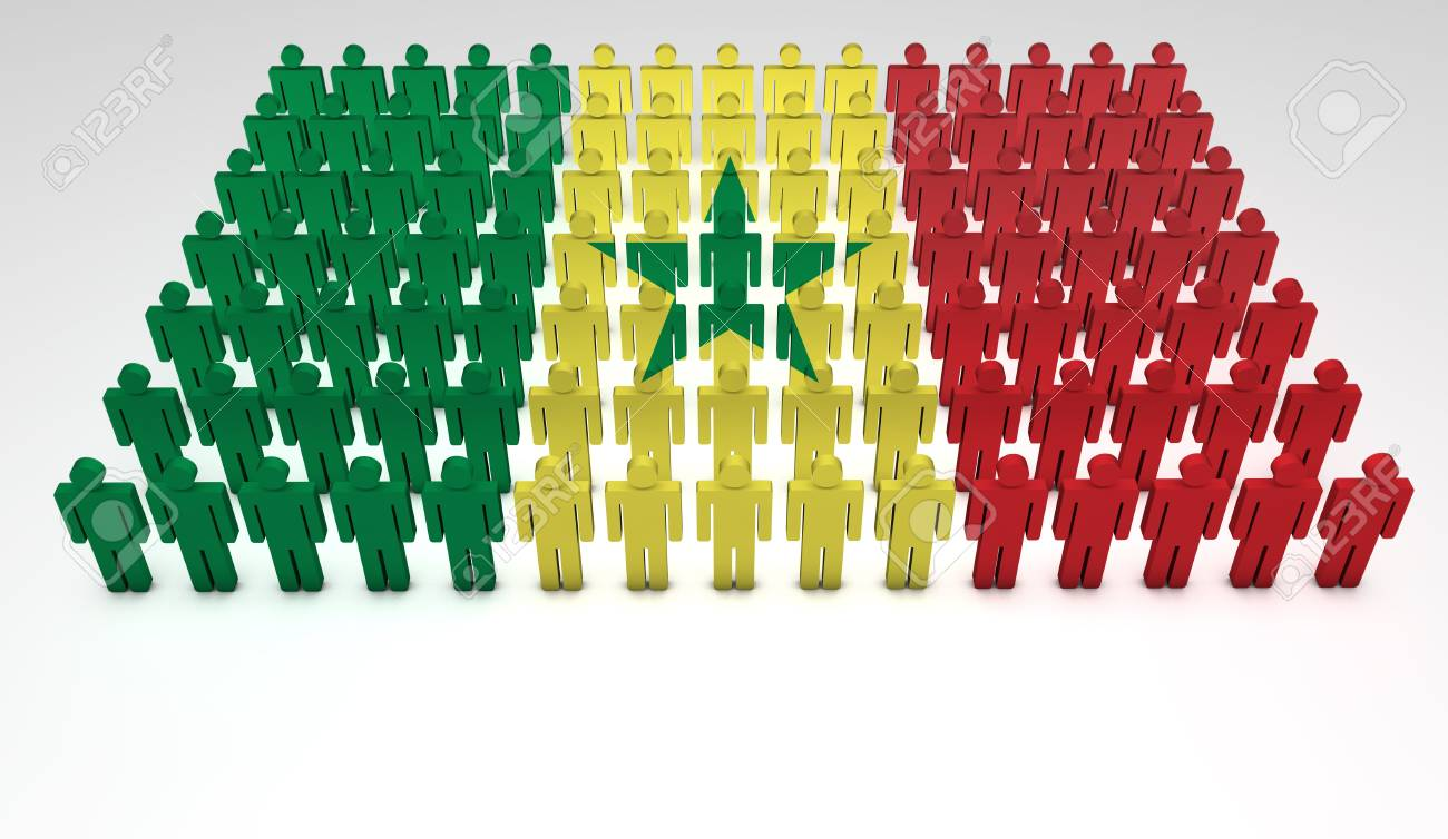 Parade of 3d people forming a top view of Senegalese flag  With copyspace Stock Photo - 14600846