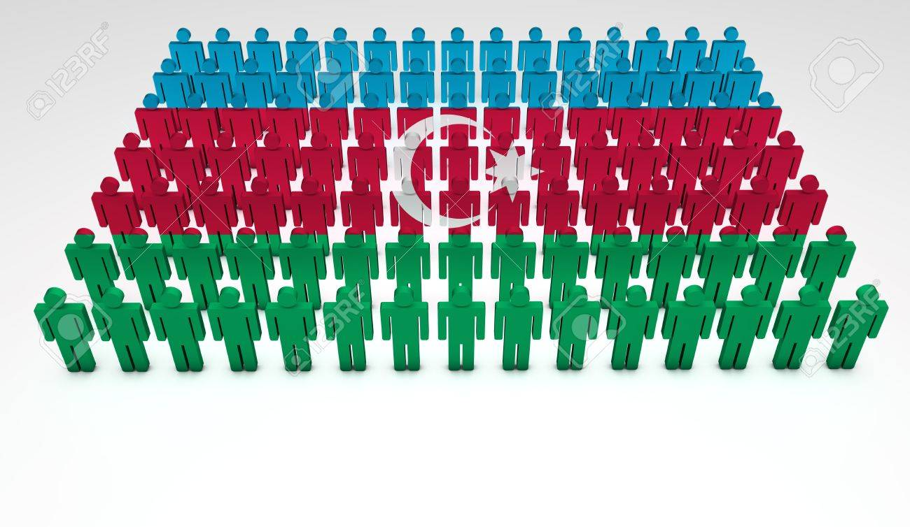 Parade of 3d people forming a top view of Azerbaijan flag  With copyspace Stock Photo - 14747215