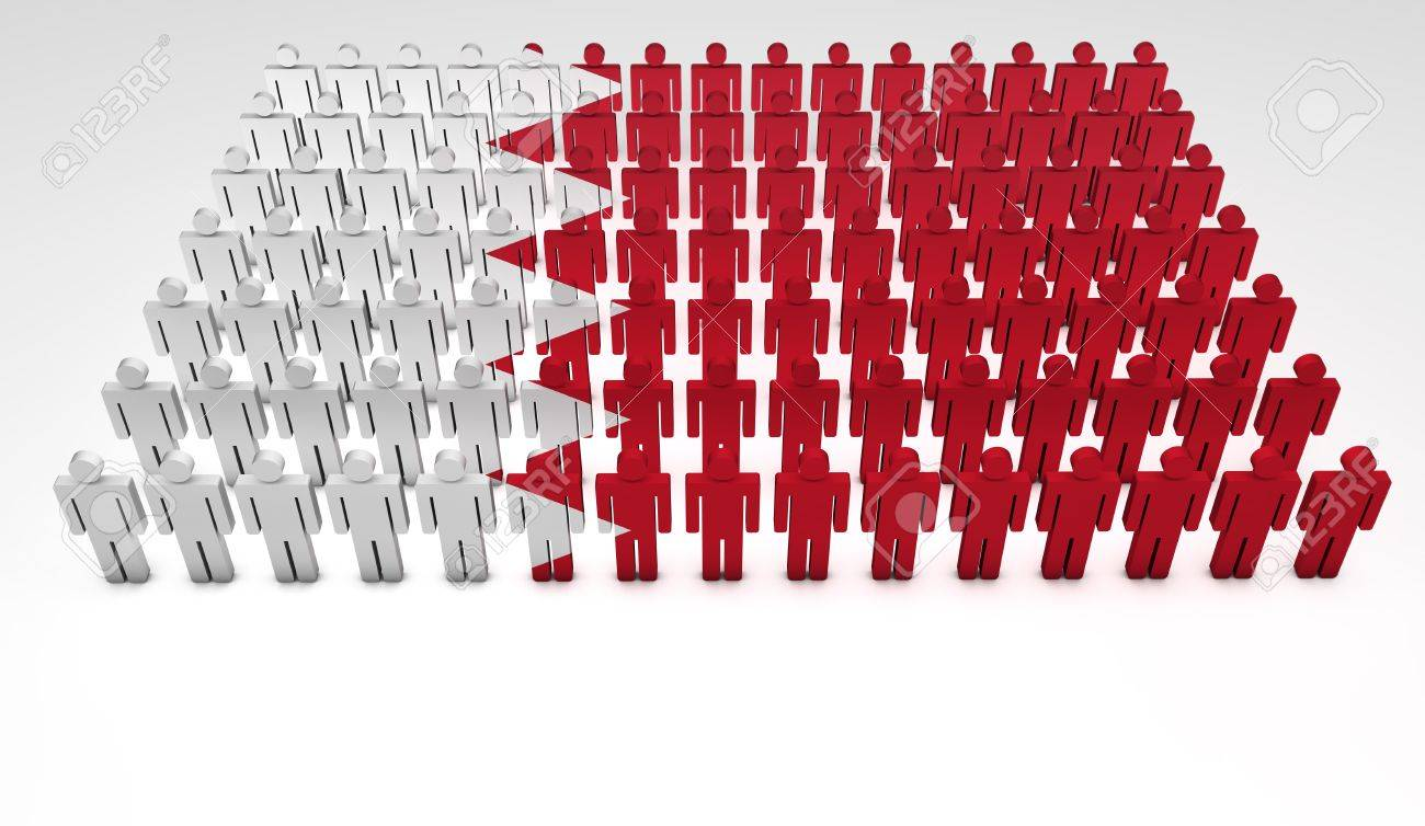 Parade of 3d people forming a top view of Bahrain flag  With copyspace Stock Photo - 14747210