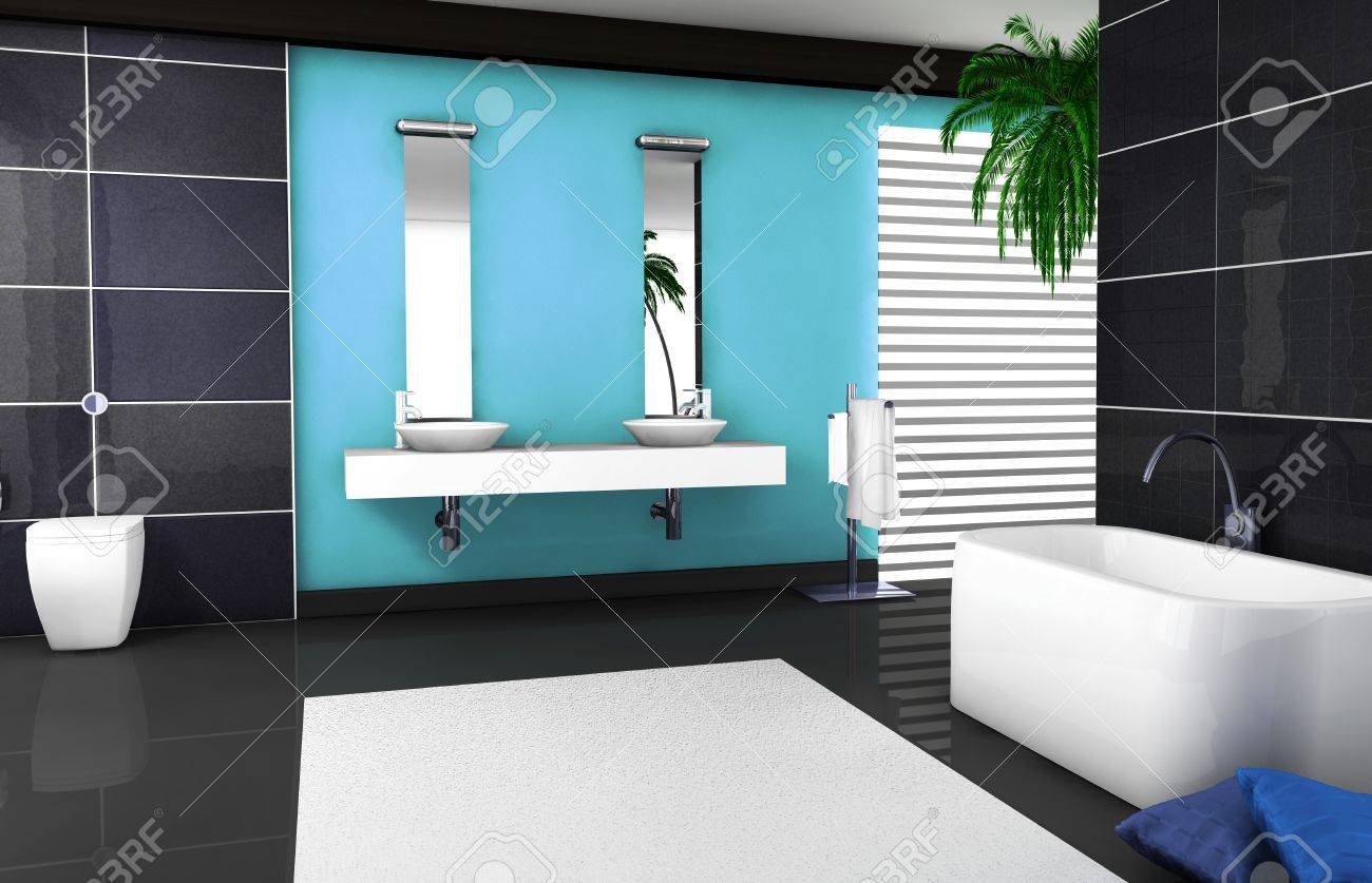 Interior Design Of A Modern And Contemporary Bathroom With Granite ...
