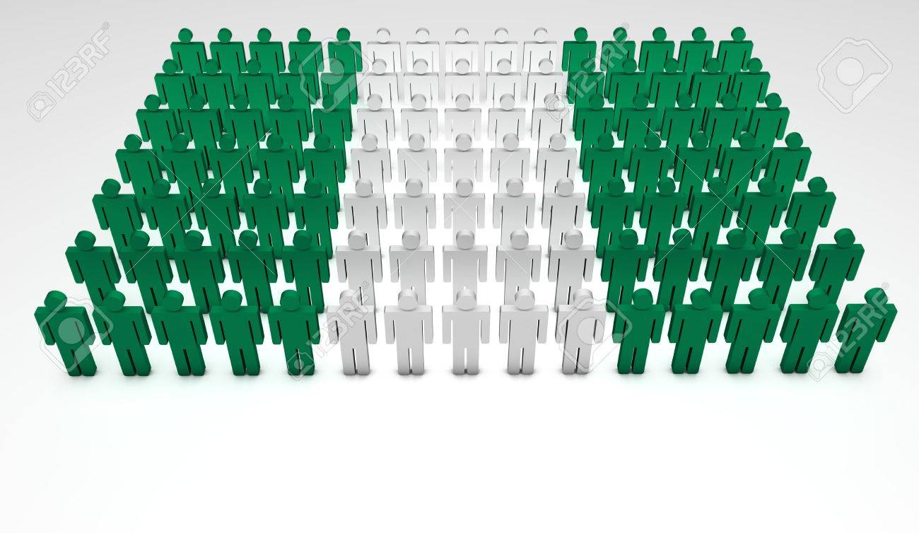 Parade of 3d people forming a top view of Nigerian flag. With copyspace. Stock Photo - 14841375