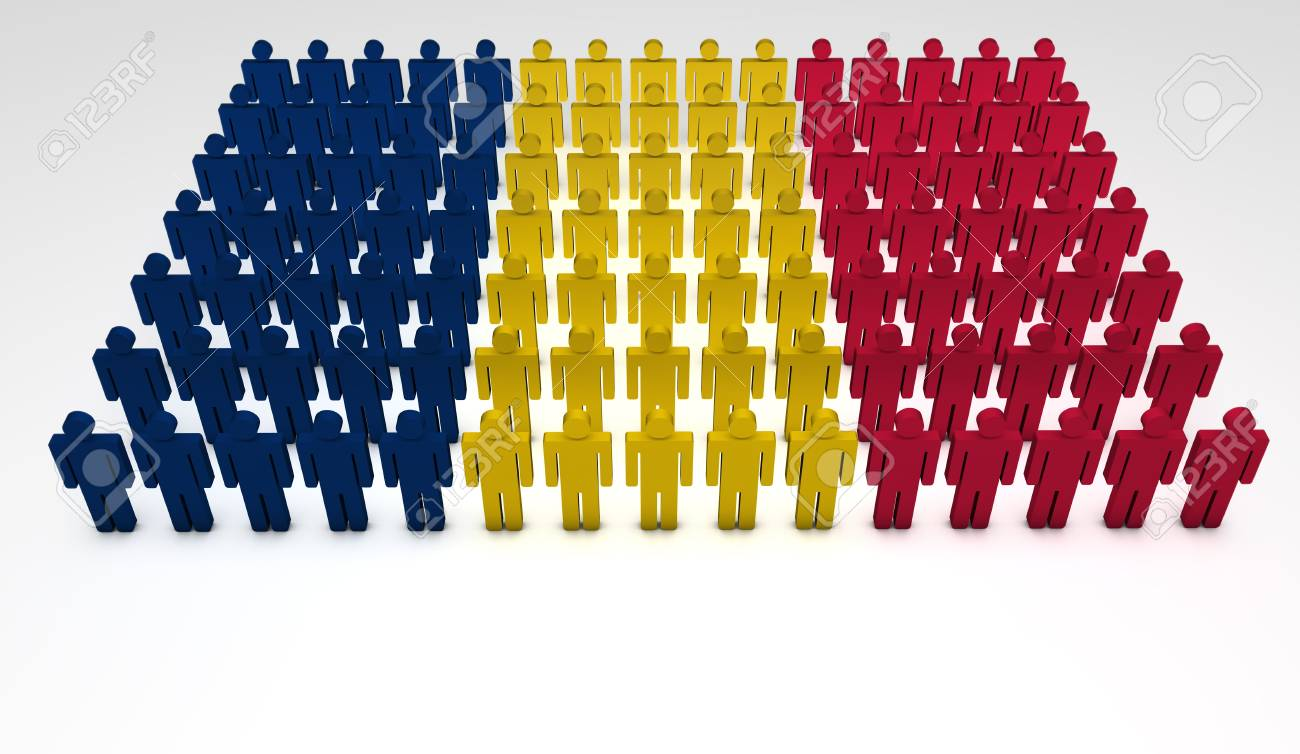 Parade of 3d people forming a top view of Chad flag  With copyspace Stock Photo - 15277852