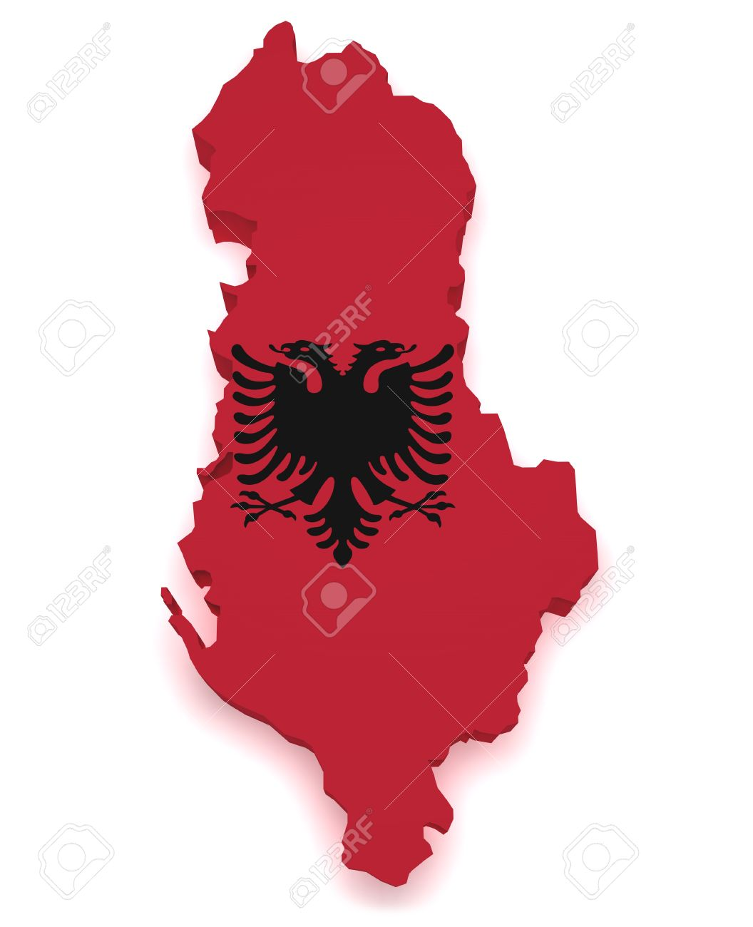 Shape 3d of Albania map with flag isolated on white background Stock Photo - 15385582