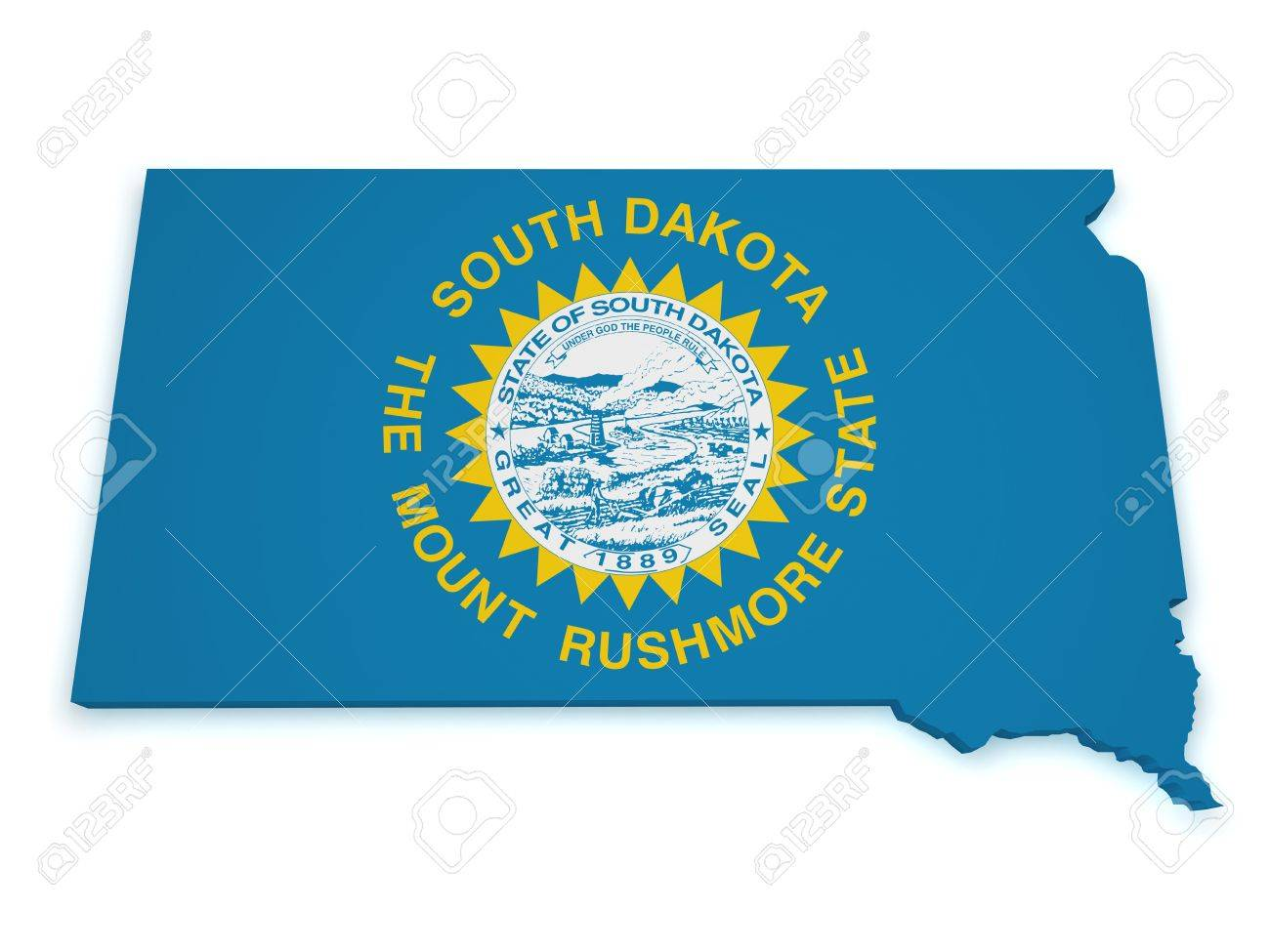 Shape 3d of South Dakota map with flag isolated on white background Stock Photo - 15385597