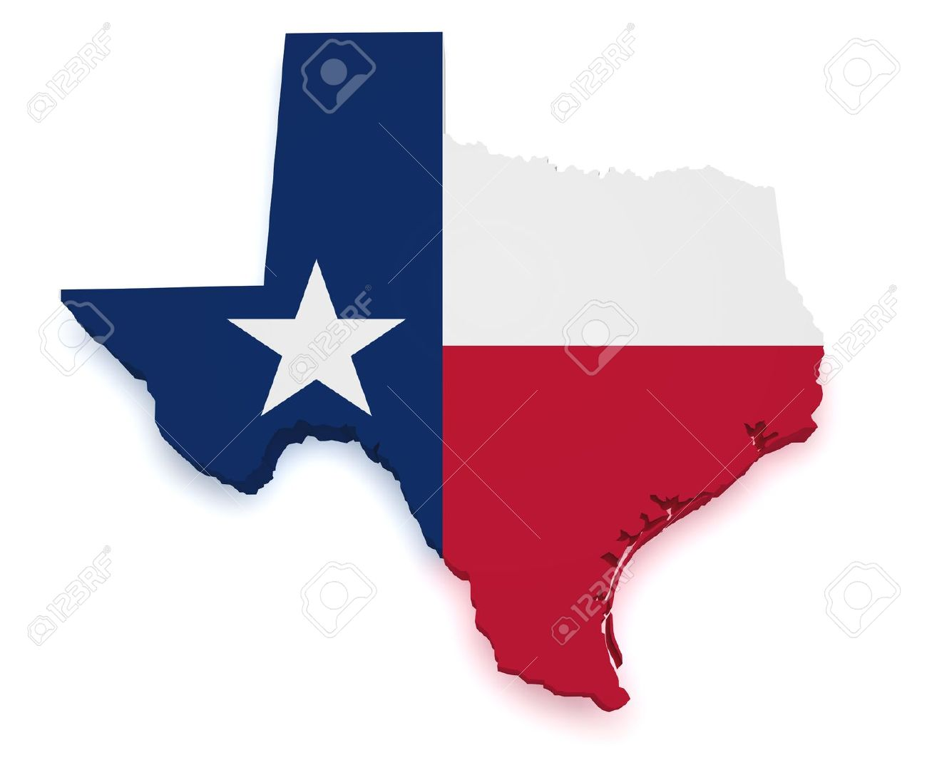 shape 3d of texas map with flag isolated on white background stock po 15467662