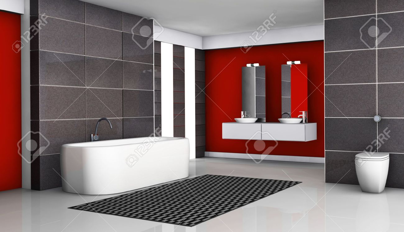 Cuarto de baño interior rojo y negro con accesorios modernos y de diseño  contemporáneo, con baldosas de granito negro y el piso blanco,  representación ...