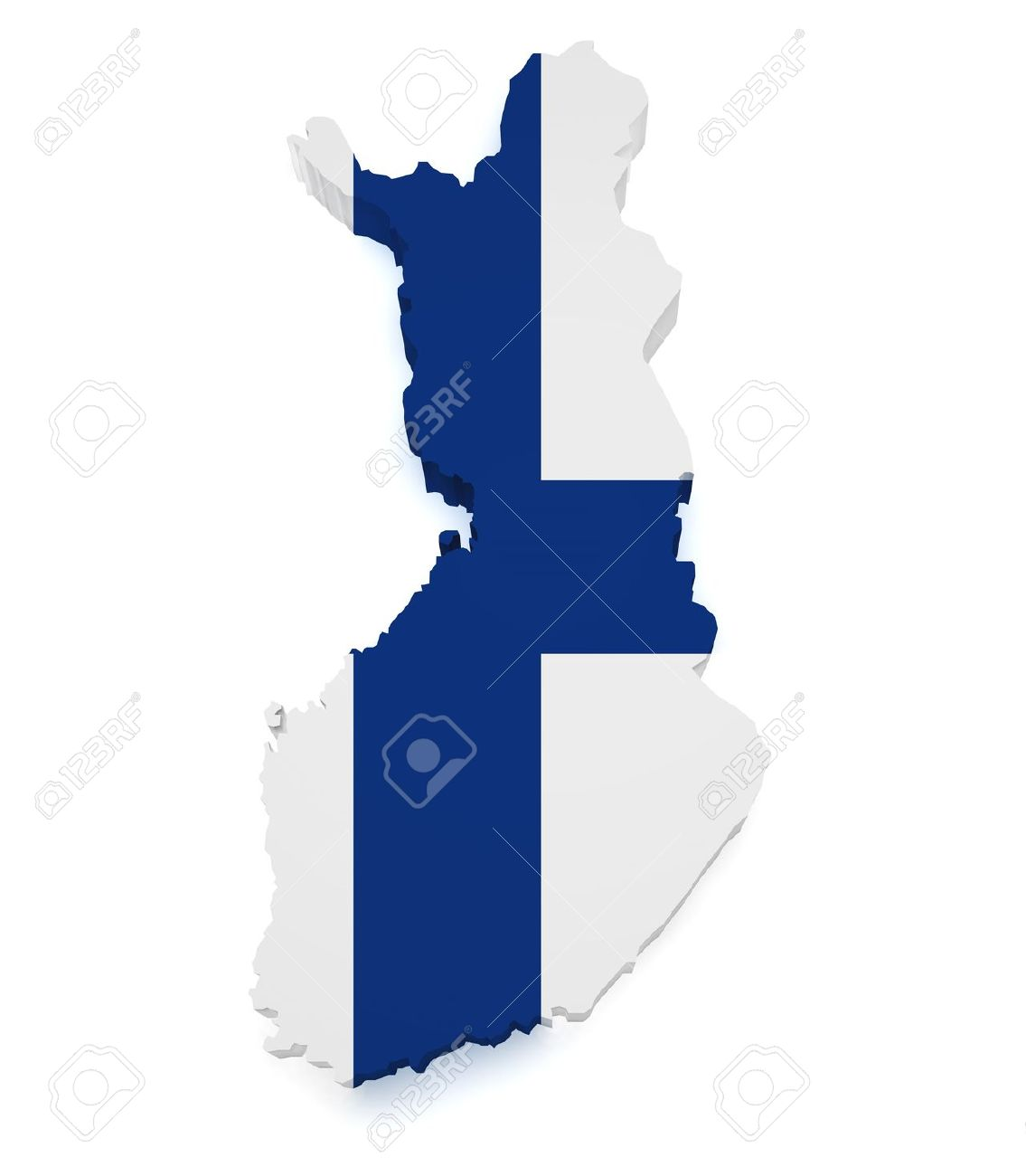 Shape 3d of Finland map with flag