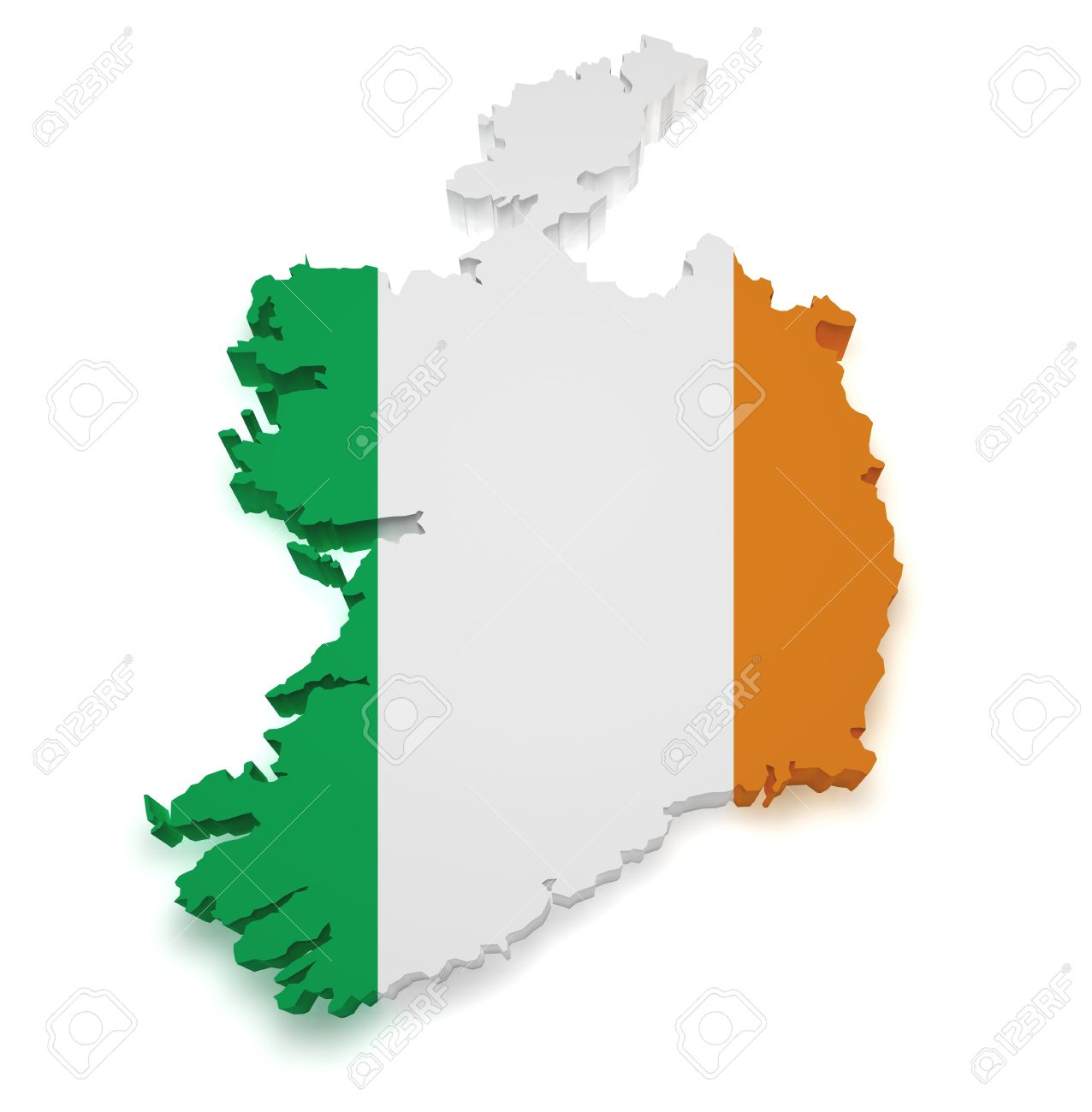 shape 3d of ireland map with flag isolated on white background