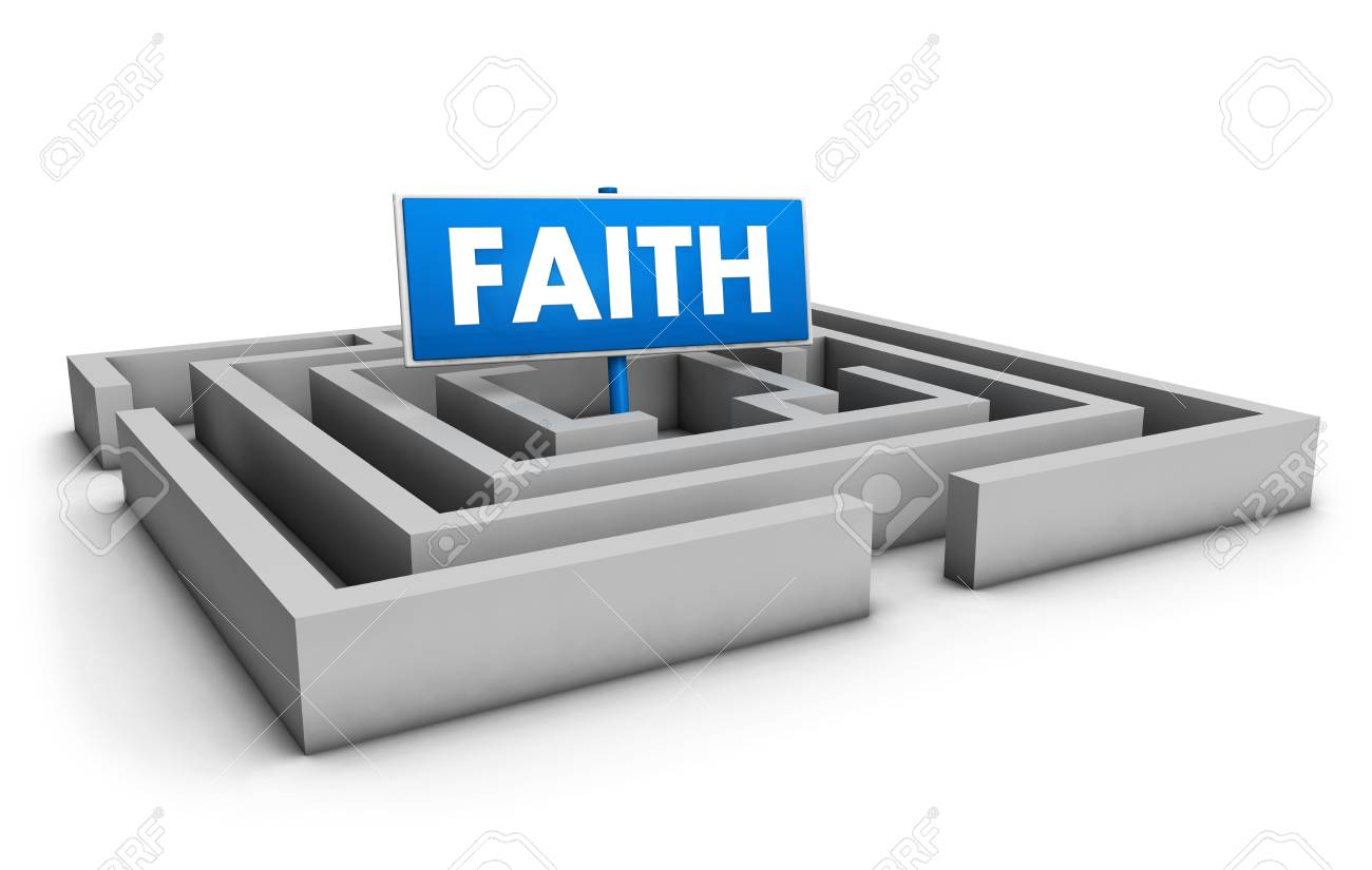 Faith concept with labyrinth and blue goal sign on white background Stock Photo - 16269099