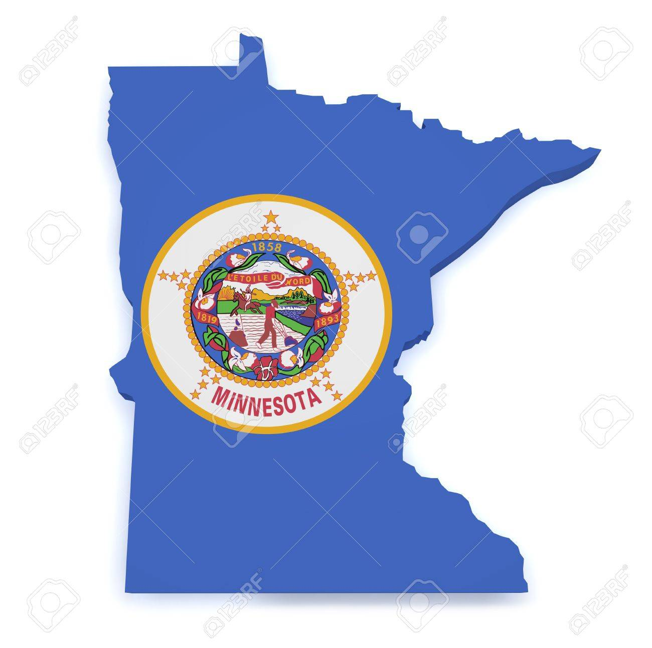Shape 3d of Minnesota map with flag isolated on white background Stock Photo - 16269104