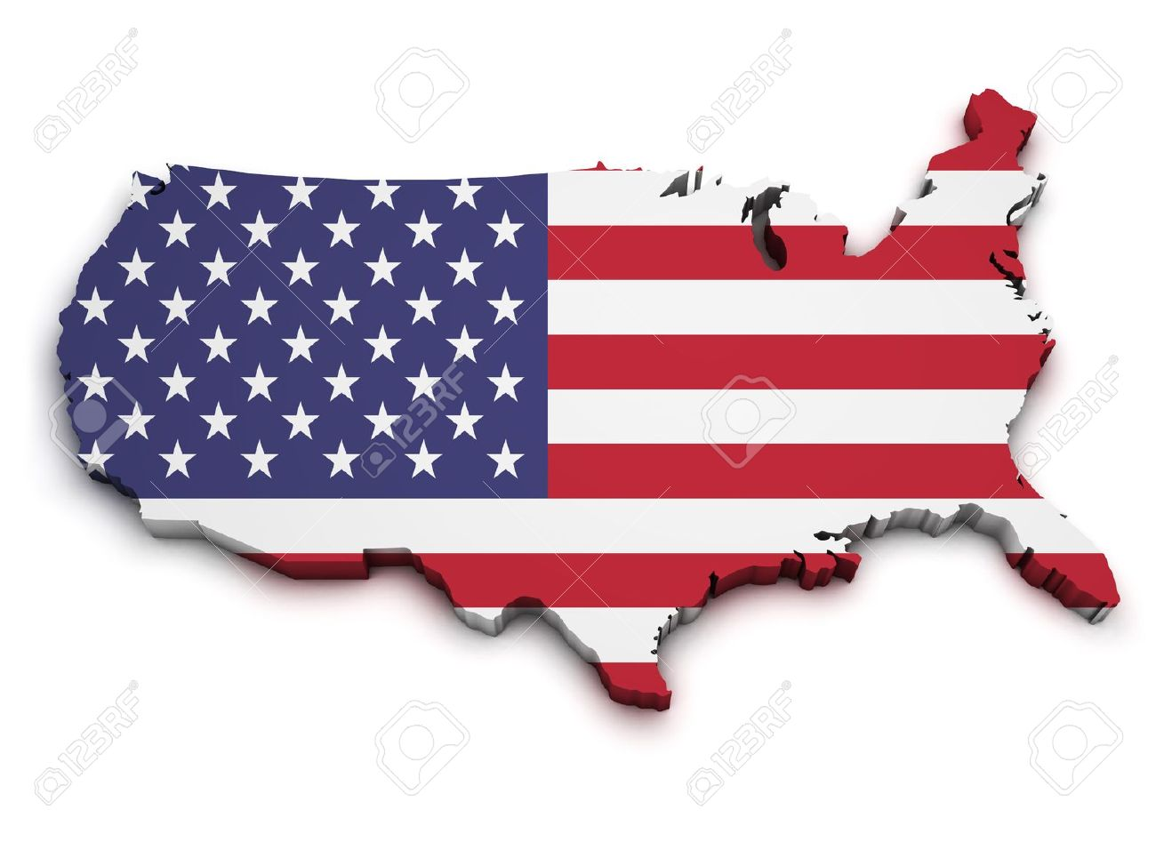 Shape 3d Of United States Of America Map With Flag Isolated On ...