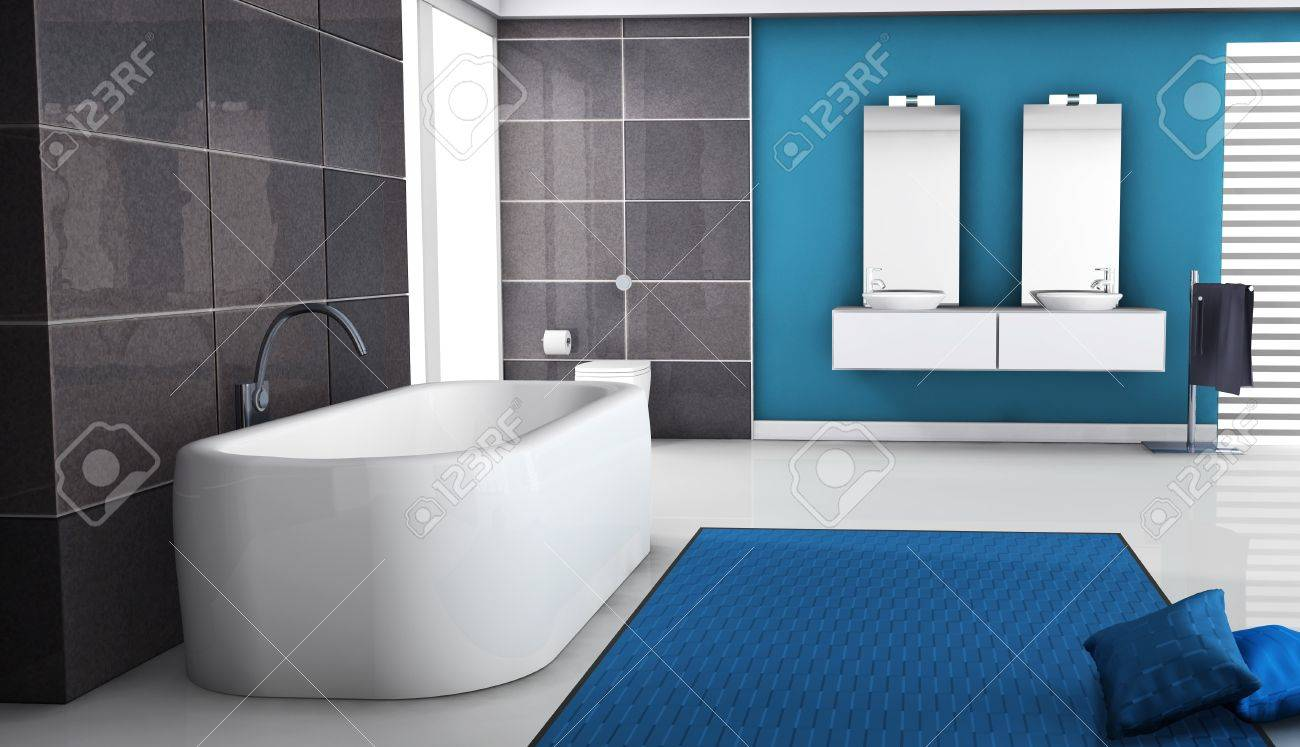 Modern bathroom interior with contemporary bathtub design, granite tiles, pillows and white floor, 3d rendering Stock Photo - 16418125