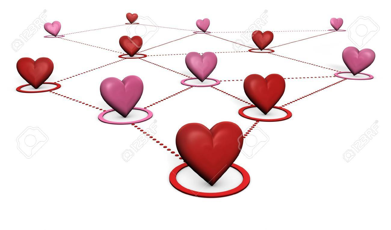 Clip Art Line Of Hearts : Love lovers and social network concept with red pink hearts