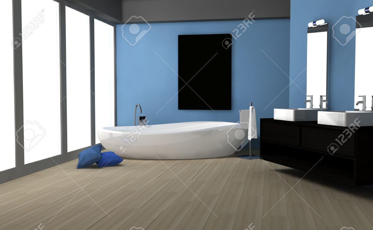 Intérieur salle de bains moderne avec un design contemporain, un ...