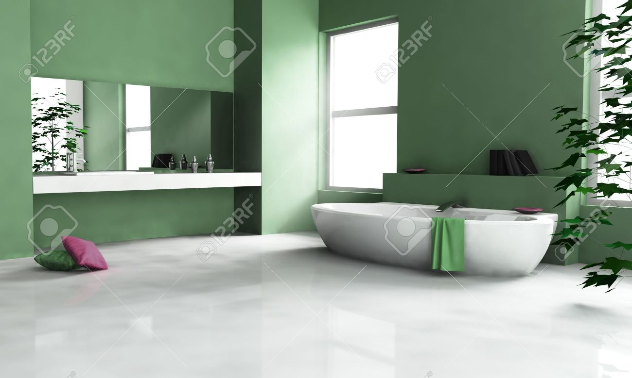 Modernt badrum inredning med modern design och vitt golv, 3d ...