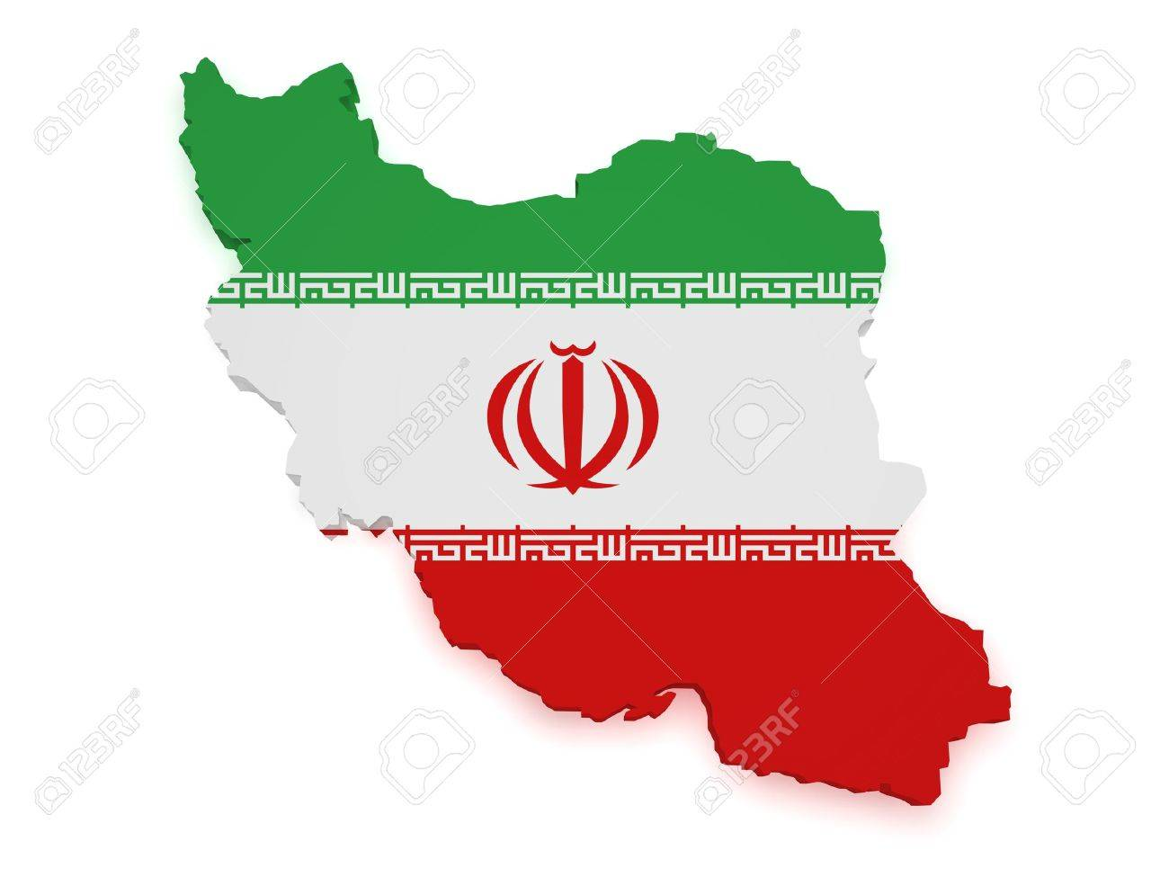Shape 3d Of Iran Map With Flag Isolated On White Background Stock
