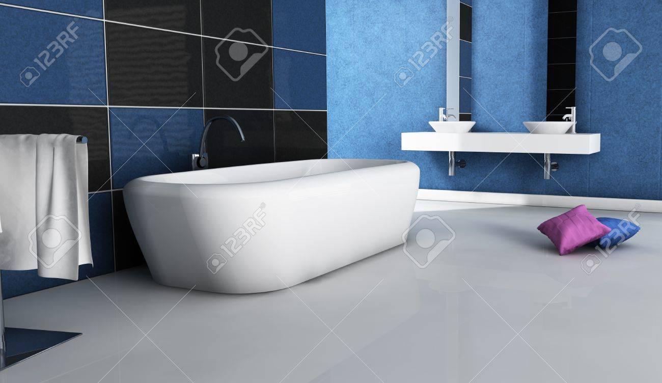 Cuarto De Baño Contemporáneo Con Un Diseño Moderno Y Muebles, De ...